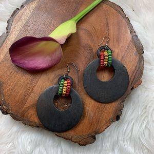 Rastafarian Tri Color Wooden Black Earrings